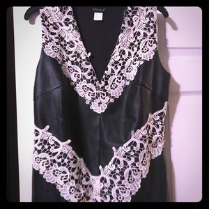 Leather and lace top